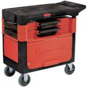 rubbermaid trades cart with locking cabinet includes 2 parts boxes and 4 parts bins